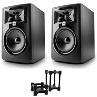 "JBL 305P MkII 5"" Studio Monitoring Speakers (Pair) w/ IsoAcoustics ISO-L8R155  Studio Monitoring Speaker Isolators, eStudioStar Polishing Cloth"