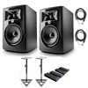 "JBL 305P MkII 5"" Studio Monitoring Speakers (Pair)  Recording Package w/ AxcessAbles Studio Monitor Stands, Isolation Pads  and Axcessables Audio Cables"