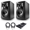 "JBL 305P MkII 5"" Studio Monitoring Speakers (Pair) w/ Isolation Pads and AxcessAbles XLR Studio Cables"