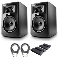 "JBL 305P MkII 5"" Studio Monitoring Speakers (Pair) w/ AxcessAbles Studio Cables and Isolation Pads"