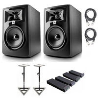 "JBL 305P MkII Powered 5"" Studio Monitoring Speakers (Pair) w/ AxcessAbles Studio Monitor Speaker Stands, Isolation Pads and eStudioStar Polishing Cloth"