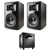 "JBL 306P MkII 6.5"" Studio Monitoring Speakers (Pair) w/ JBL LSR310S Subwoofer, w/ eStudioStar Polishing Cloth"