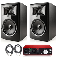 "JBL 306P MkII 6.5""  Studio Monitoring Speakers (Pair) Recording Package w/ Focusrite Scarlett 2i2 USB Audio Interface, Protool First DAW and AxcessAbles Cables"