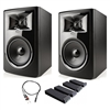 "JBL 306P MkII 6.5"" Studio Monitoring Speakers (Pair) w/ AxcessAbles Audio Cable and Isolation Pads"