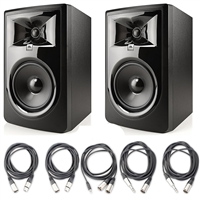 "JBL 306P MkII 6.5"" Studio Monitoring Speakers (Pair) w/ 5 Essential AxcessAbles Audio Cables for Recording Studio"
