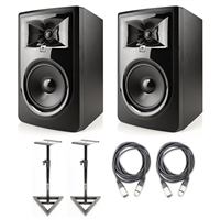 "JBL 306P MkII 6.5"" Studio Monitoring Speakers (Pair) w/ AxcessAbles Studio Monitor Stands and Studio Cables"