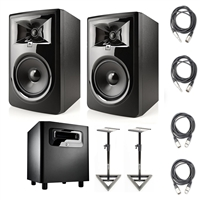"JBL 306P MkII 6.5"" Studio Monitoring Speakers (Pair) w/ JBL LSR310S  Subwoofer, AxcessAbles Studio Monitor Stands and Axcessables Audio Cables"