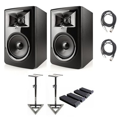 "JBL 306P MkII 6.5"" Studio Monitoring Speakers (Pair) Recording Package w/ AxcessAbles Studio Monitor Stands, Isolation Pads  and Axcessables Cables"