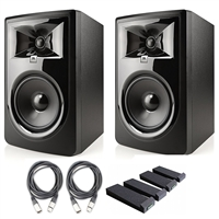 "JBL 306P MkII 6.5"" Studio Monitoring Speakers (Pair) w/ AxcessAbles Studio Cables, Isolation Pads and eStudioStar Polishing Cloth"