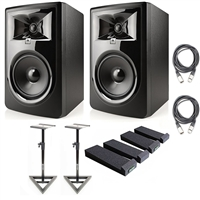 "JBL 306P MkII Powered 6.5"" Studio Monitoring Speakers (Pair) w/ AxcessAbles Audio Cables and Isolation Pads"