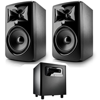 "JBL 308P MkII Powered 8"" Studio Monitoring Speakers (Pair) w/ JBL LSR310S Subwoofer"