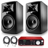 "JBL 308P MkII Powered 8"" Studio Monitoring Speakers (Pair) w/ Focusrite Scarlett 2i2, Protool First DAW and  AxcessAbles Audio Cables"