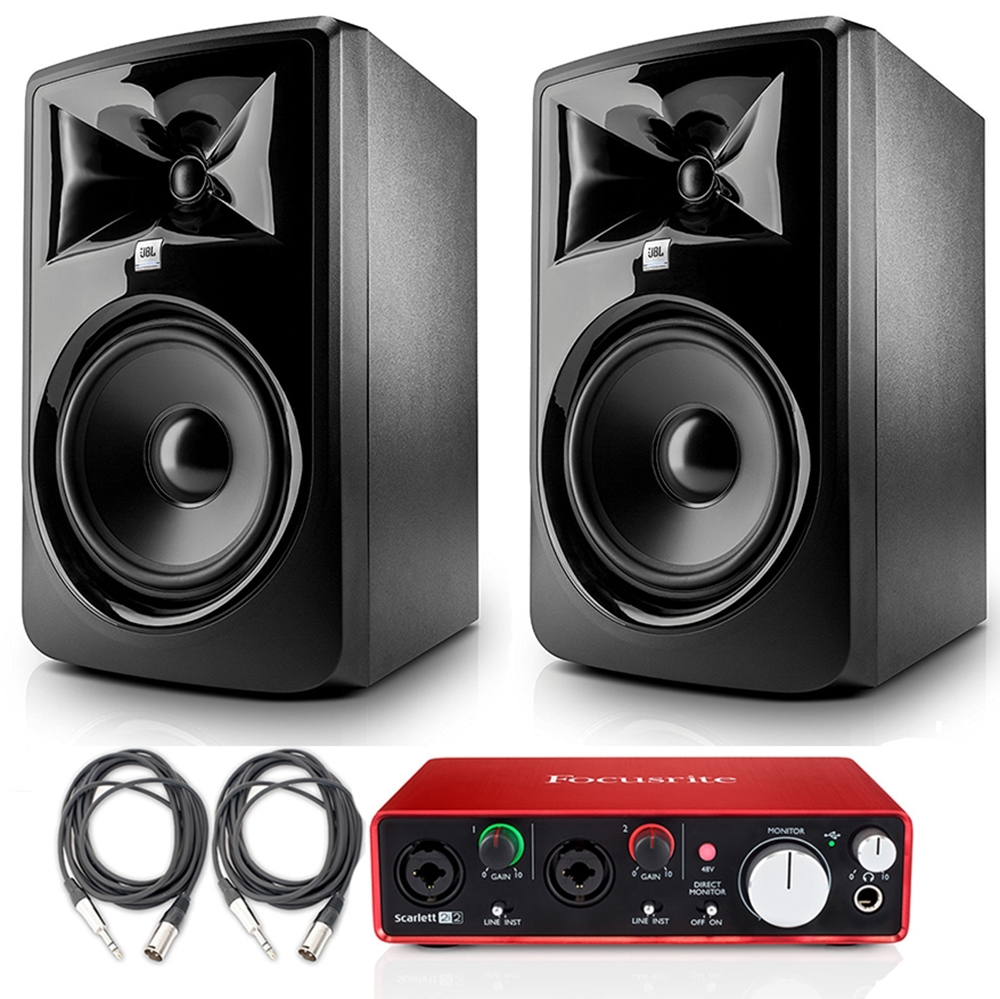 jbl 308p mkii powered 8 two way studio monitor pair with