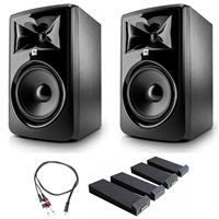 "JBL 308P MkII 8"" Studio Monitoring Speakers (Pair) w/ AxcessAbles Audio Cable and Isolation Pads"