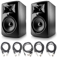 "JBL 308P MkII Powered 8"" Studio Monitoring Speakers (Pair) w/ 5 Essential AxcessAbles AudioCables for Recording Studio and eStudioStar Polishing Cloth"
