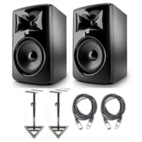"JBL 308P MkII Powered 8"" Studio Monitoring Speakers (Pair) w/ AxcessAbles Audio Cables, Studio Monitor Stands"