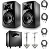 "JBL 308P MkII Powered 8"" Studio Monitoring Speakers (Pair) w/ JBL LSR310S  Subwoofer, AxcessAbles Audio Cables and Studio Monitor Stands"