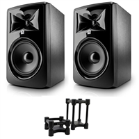 "JBL 308P MkII Powered 8"" Studio Monitoring Speakers (Pair) w/ IsoAcoustics ISO-L8R155 Studio Monitor Isolators (Pair)"