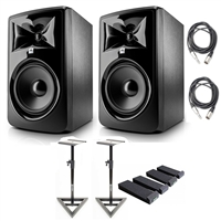 "JBL 308P MkII Powered 8"" Studio Monitoring Speakers (Pair) w/ AxcessAbles Audio Cables, Studio Monitor Stands and Isolation Pads"