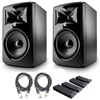 "JBL 308P MkII 8"" Studio Monitoring Speakers (Pair) w/ AxcessAbles Audio Cables and Isolation Pads"