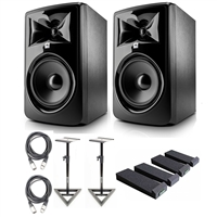 "JBL 308P MkII Powered 8"" Studio Monitoring Speakers (Pair) w/ AxcessAbles Audio Cables, Studio Monitor Speaker Stands, Isolation Pads and eStudioStar Polishing Cloth"