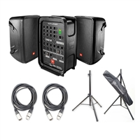JBL EON208P Personal PA System with 8-Channel Mixer with 2 AxcessAbles XLR-XLR20 Audio Cable and AxcessAbles SSB-101 Speaker Stands