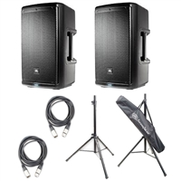 "JBL EON610 - 10"" Two-Way Multipurpose Self-Powered Sound Reinforcement Speaker with AxcessAbles SSB-101 Speaker Stands and 2 AxcessAbles  XLR20 Cables"