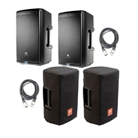 JBL EON610 - 10' Two-Way Multipurpose Self-Powered Sound Reinforcement Speaker (Pair) with 2 JBL Bags EON610-CVR 5 mm Padding/Water Resistant/ Cover and 2 AxcessAbles XLR-XLR20 Audio Cable