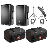 JBL EON610 - 10' Two-Way Multipurpose Self-Powered Sound Reinforcement Speaker (Pair) with 2 JBL Bags EON610-Bag 10 mm Padding/Dual Accessories/Carry Handles, 2 AxcessAbles XLR-XLR20 Audio Cable and AxcessAbles SSB-101 Speaker Stands