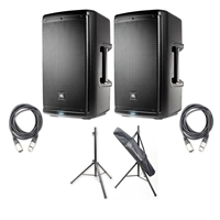 BL EON610 - 10' Two-Way Multipurpose Self-Powered Sound Reinforcement Speaker (Pair) with 2 AxcessAbles XLR-XLR20 Audio Cable - XLR Male to XLR Female and AxcessAbles SSB-101 Speaker Stands