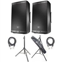 JBL EON612 12-Inch Two-Way Multipurpose Self-Powered Sound Reinforcement Speakers (Pair) with 2 20ft XLR Cables and Speaker Stands