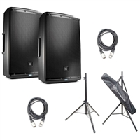 JBL EON615 15' Two-Way Multipurpose Self-Powered Sound Reinforcement Speaker with Speaker Stand and XLR Cables