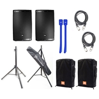 JBL EON615 15' Two-Way Multipurpose Self-Powered Sound Reinforcement Speaker with Tripod Stands, Convertible Covers, XLR Cables & Cable Ties