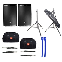 JBL EON615 15' 2-Way Speaker System Pair with Speaker Bag, Speaker Stand, XLR Cables & Cable Ties