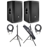 JBL PRX812W 1500 Watt Two-Way Powered Speaker (Pair) w/ AxcessAbles Audio Cables and Speaker Stands