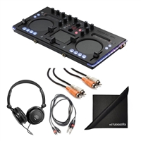 Korg KAOSSDJ USB DJ Controller w/ KAOSS FX, AxcessAbles Stereo Headphones, Audio Cables and eStudioStar Polishing Cloth