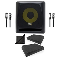"KRK 10S2 V2 10"" Studio Powered Monitor Speaker Subwoofer w/ AxcessAbles Audio Cables, Isolation Foam Pads and eStudioStar Polishing Cloth"