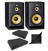 KRK ROKIT RP103G4 Powered Studio Monitor Speaker w/ AxcessAbles Speaker Isolation Foam Pads and Polishing Cloth
