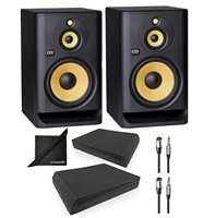 KRK ROKIT RP103G4 Powered Studio Monitor Speaker w/ AxcessAbles Speaker Isolation Foam Pads, Audio Cables and Polishing Cloth