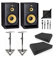 KRK ROKIT RP103G4 Powered Studio Monitor Speaker w/ AxcessAbles Speaker Stands, Isolation Foam Pads, Audio Cables and Polishing Cloth