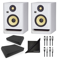 KRK RP5G4WN Rokit Gen 4 5'' Powered Studio Monitor White w/ AxcessAbles Isolation Speaker Pads, Audio Cables and eStudioStar Polishing Cloth
