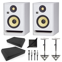 KRK RP5G4WN Rokit Gen 4 5'' Powered Studio Monitor White w/ AxcessAbles Speaker Stands, Isolation Pads, Audio Cables and eStudioStar Polishing Cloth