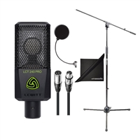 Lewitt LCT-240-PRO-BLK Compact Condenser Microphone w/  AxcessAbles Microphone Stand, Audio Cables, Microphone Pop Filter and eStudioStar Polishing Cloth