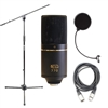 MXL 770 Cardioid FET Studio Condenser Microphone with AxcessAble MS-101 Microphone Stand, Axcessables Windpop Universal Microphone Pop Filter and AxcessAbles XLR-XLR20 Audio Cable
