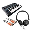Novation Bass Station II Analog Synthesizer  w/ AxcessAbles Stereo Headphones and MIDI Cable