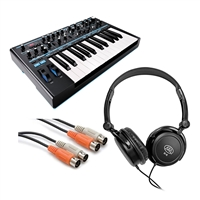 Novation Bass Station II Monophonic Analog Synthesizer w/ Stereo Headphones and AxcessAbles Audio MIDI Cable
