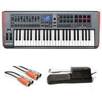 Novation Impulse 49 MIDI Controller w/ AxcessAbles Audio MIDI Cable and Sustain Pedal