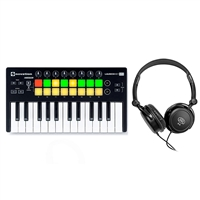 Novation Launchkey Mini MK2 USB MIDI Controller with Samson SR350 Stereo Headphones