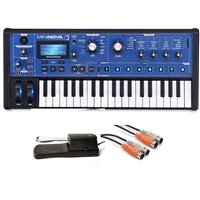 Novation MiniNova 37-Mini-Key Compact Synthesizer with MID-310BK 10Ft. MIDI Cable and KSP100 Sustain Pedal, NOVMININOVA-BUNDLE-1, MININOVA
