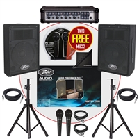 Peavey Audio Performer PA System w/ PVi10 Speakers, PVi4B Mixer, Mics BONUS PACK